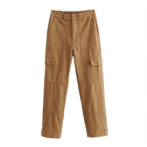 NOBRAND Pantalones Cargo Pantalones de Cintura Alta Pantalones de Mujer de Color Liso Bolsillos Laterales Pantalones de chándal