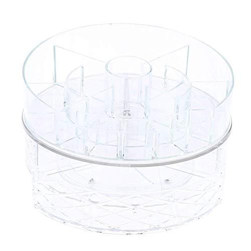 Tubayia Support Rotatif à 360° en Acrylique Make Up Organiseur de cosmétiques Support avec 3 tiroirs B
