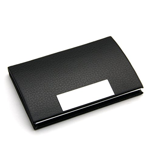 Partstock(TM) Embossed Leather Business Name Card Holder Card Case,3.8L X 2.6W Inches 22 Cards Holder Wallet Credit Card ID Case/Holder for Men & Women,with Magnetic Shut.(Black)