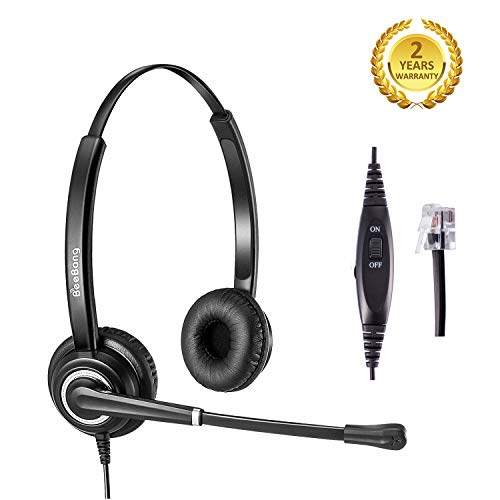 Beebang Cisco Headset with Pro Noise Canceling Microphone and Mute Switch Control Telephone Headset RJ9 Jack for Plantronics Jabra Cisco 6941 7841 7861 7941 7942 7945 7960 7962 7965 8841 8945 M22