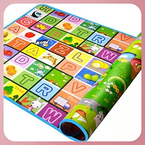 Keekos Double Sided Water Proof Baby Carpet Mat Crawling Play Mat Carpet Baby Gym Water Resistant (Extra Large Size 5 Feet X 6 Feet, Assorted Colour) Playmat for Babies