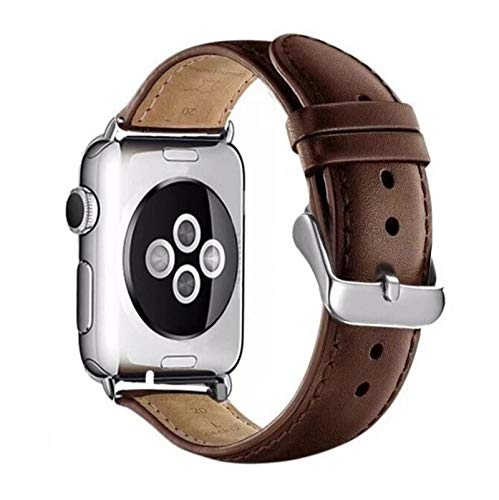 Correa de cuero para IWatch 42 mm 38 mm 40 mm 44 mm Correa de pulsera para Apple Watch Serie Se 6 5 4 3 2 1-marrón, 42 mm Serie 1 2 3