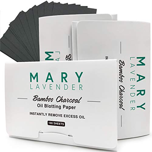 MARY LAVENDER Bamboo Charcoal Oil Blotting Paper Sheets for Face,100% Natural Absorbing Excess Shine Oil and Dirt Tissues for Both Men Women,Prevent Blackhead Acne, Minimize Pores,300 Sheets(3 Packs)