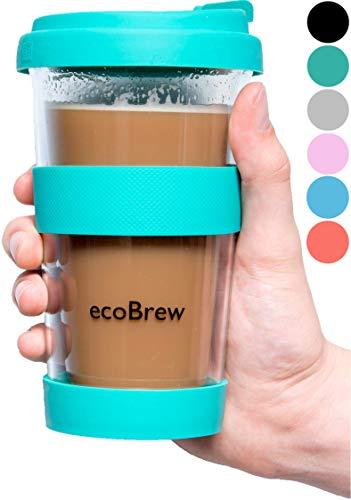 Glas Kaffeebecher to Go | Doppelwandig Isolierung Kaffeetasse | 340 ml Travel Mug mit sicherem Deckel | Coffee Becher für zu Hause, Büro oder Auto | Helles Aquamarin