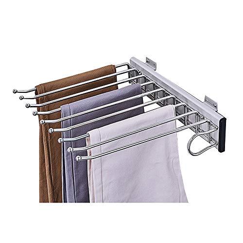XYL Porte-Pantalons Coulissant pour Garde-Robe, Rail Coulissant Extensible de Rangement de Jeans d'écharpe de Placard, Porte-Pantalons en Acier Inoxydable 9 Bras, Montage latéral