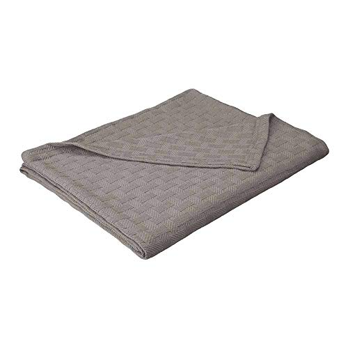 eLuxurySupply Basket Weave Blanket Cotton Thermal Blanket - Soft & Breathable All Seasons Oversized Throw Blanket Perfect for Layering Any Bed Full/Queen Size, Charcoal Color