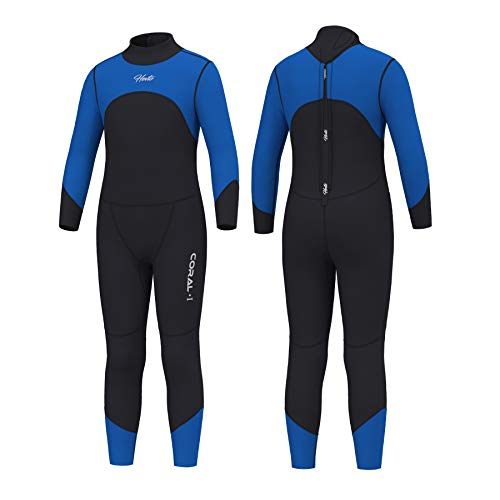 Hevto Wetsuits Kids Coral 3mm Neoprene Full Scuba Diving Suits Surfing Swimming for Water Sports (C-Kids Blue, 6)
