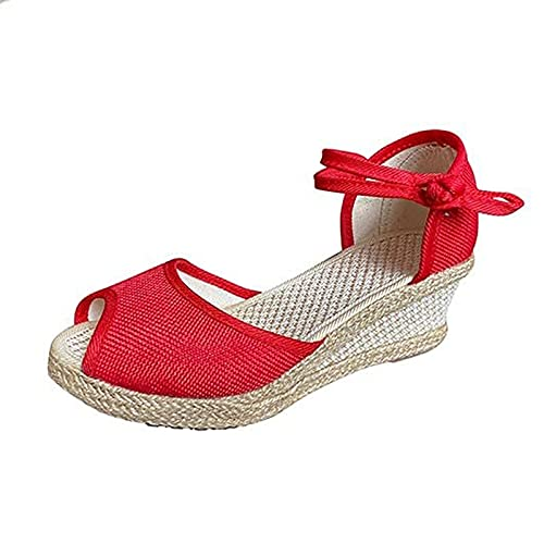 Damen Sandalen Sommer Keilabsatz Sandaletten Pantoletten Keilsandalen Frauen Sandaletten Keilabsatz Sommerschuhe Platform Knöchelriemen Sandalen