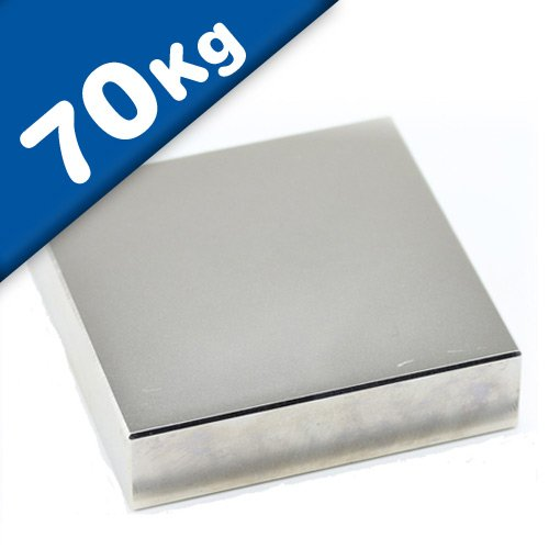 Quadermagnet Neodym Magnet-Quader - 50 x 50 x 10mm - Neodym N45 (NdFeB) Nickel - hält 70 kg - starke Block-Magnete Supermagnete mit extremer Haftkraft für Industrie und Zuhause