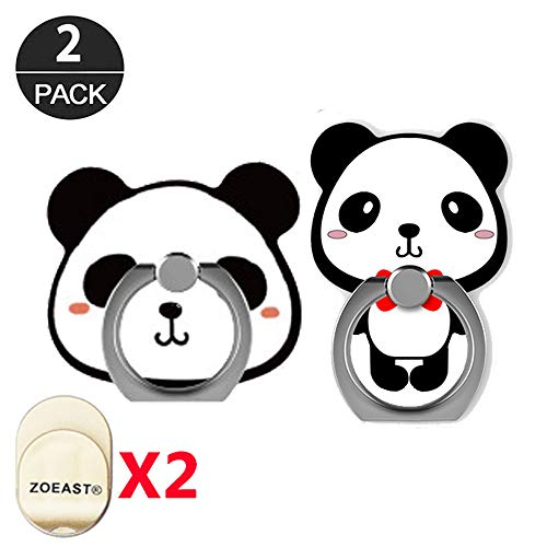 ZOEAST(TM) 2 Pack Phone Ring Grip Cute Panda Kung Fu Cat Bear Universal 360° Adjustable Holder Car Desk Hook Stand Stent Mount Kickstand Compatible with iPhone X Plus Samsung iPad Tablet (2pcs Panda)