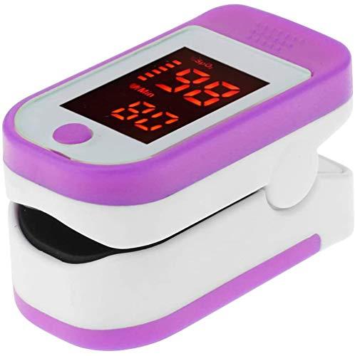 XIAOCUI Fingeroximeter Blutsauerstoffsättigungsmonitor mit LED-Bildschirm Tragbares Fingeroximeter für SpO2 und Herzfrequenz, Finger Pulsoximeter,Lila