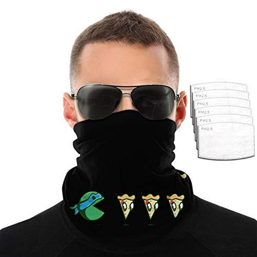 VOROY Mu-Tant Nin-Ja Turt-Les - Pañuelo con 6 filtros para protección facial de caza, calentador de cuello negro para niños de 9.8 x 19.7 cm