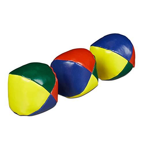Relaxdays Unisex Erwachsene Jonglierbälle Set, & Anfänger, Weich, Erwachsene, Relaxdays Jonglierb lle 3er Set Profis Anf nger Juggling Balls weich Kinder Erwachsene Jon, Bunt, Pack EU