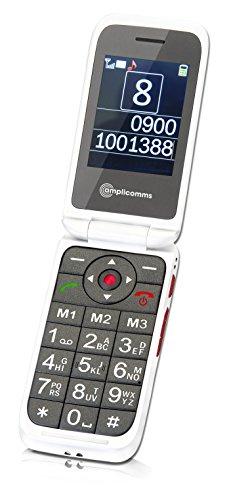 AMPLICOMMS PowerTel M7000i weiss Notruftaste BT 3.0 extra laut Vibration Freisprechen Sprachausgabe von Namen aus Handybuch