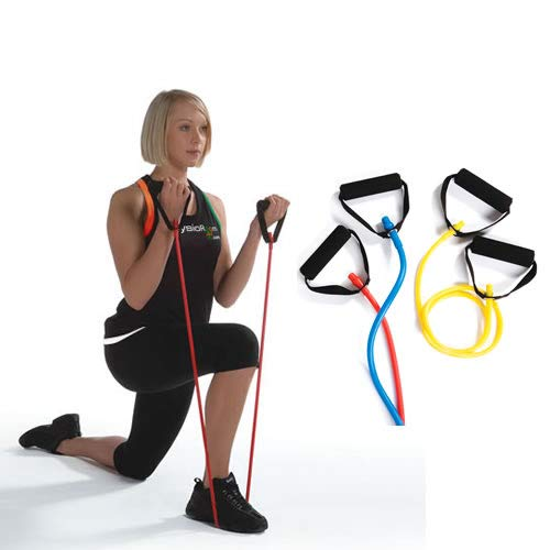 PhysioRoom Fitness Resistance Exercise Tube Soft Grip Handles Rehabilitation Sports Training Strengthening Exercise and More x1