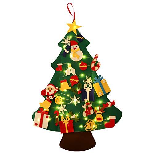SALCAR 1m Filz Weihnachtsbaum mit 5m Kupfer Lichterkette, 50 LEDs 3AA batteriebetriebenes LED-Licht, 30 Stück DIY-Filz Weihnachtsdekoration, Weihnachtsgeschenk Dekoratives LED Licht