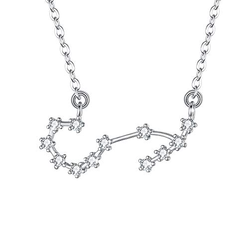 BriLove 925 Sterling Silver Necklace for Women - Scorpio Constellation Necklace Zodiac 12 Horoscope Astrology CZ Pendant Necklace Birthday Gift Clear