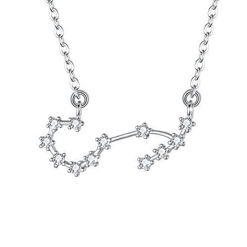Clearine Halskette Sternzeichen 925 Sterling Silber CZ- Skorpion Sternbild 12 Horoskop Astrologie Anhänger Kette klar für Damen Mädschen