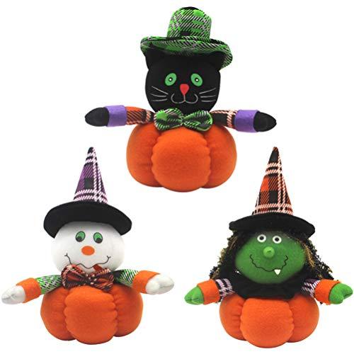 VOSAREA 3 stücke Halloween plüsch Kürbis Schwarze Katze Hexe Geist Puppe Spielzeug Halloween tischdekoration Ornamente gastgeschenke
