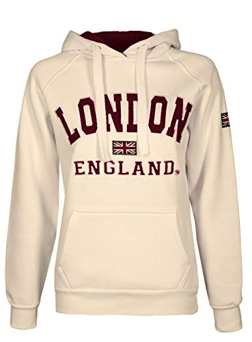 Damen-Kapuzenpullover, Motiv: London, England und Union Jack, hochwertig Gr. 34-36, cremefarben