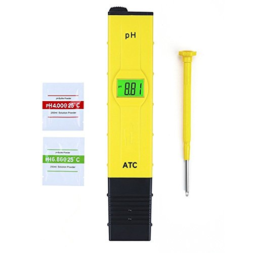 Stylo numérique PH Mètre,GYOYO Testeur Lecteur type de compteur pH Testeur Aquarium Piscine d'eau hydroponique Laboratoire,Testeur pH Numérique Portable, Jaune