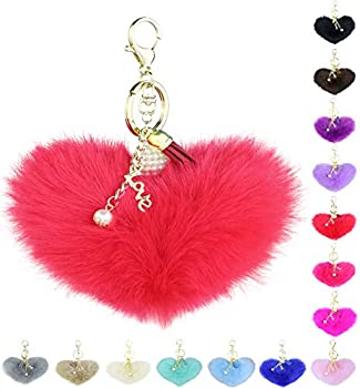 Fuzzy Ball Keychain for Women - Fluffy Puff Key Ring with Red Pom Pom