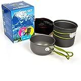 Bounabay DS-101 - Juego de utensilios de cocina para acampar al aire libre, olla antiadherente y sartenes ligeros para mochileros para senderismo y senderismo