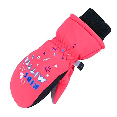Guantes cálidos Impermeables para niños y niñas, de Invierno, Negro, para esquí al Aire Libre, Azul, Rosa, a Prueba de Viento - Rose, XXS