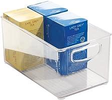 iDesign Cabinet/Kitchen Binz Caja organizadora, gran organizador de cocina de plástico, cajón para frigorífico, transparente