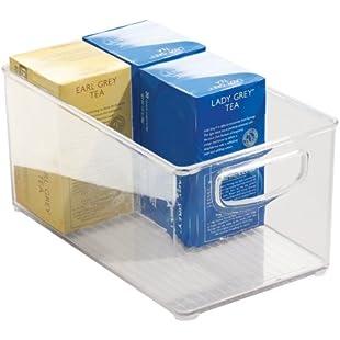 InterDesign Cabinet/Kitchen Binz Kitchen Storage Container, Large Plastic Storage Boxes for The Fridge, Freezer or Pantry, Clear:Netac2