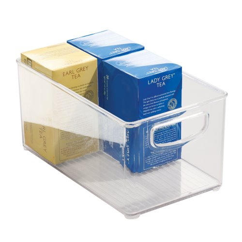 iDesign Cabinet/Kitchen Binz Aufbewahrungsbox, mittelgroßer & tiefer Küchen Organizer aus Kunststoff, durchsichtig