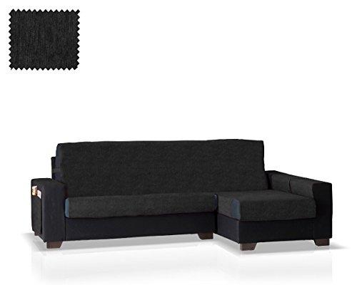 JM Textil Salvadivano Chaise Larissa Bracciolo Destro, Dimensione Normale (245 Cm.), Colore Nero