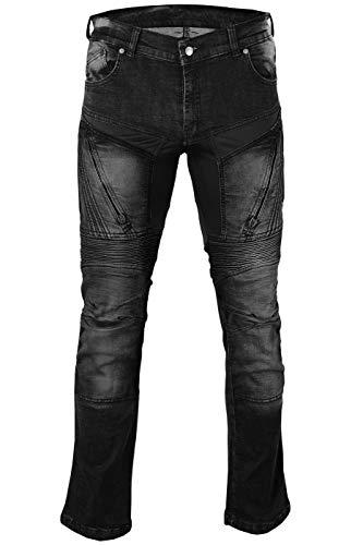 BULLDT Herren Motorradjeans Motorradhose Denim Jeans Hose mit Protektoren, Jeansgröße:W42 / L32, Farbe:Schwarz