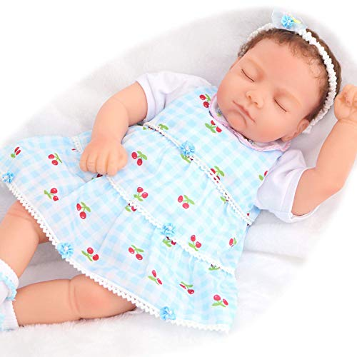 PURSUEBABY Soft Silicone Reborn Newborn Baby Doll Girl 18 inch Teegan Sleeping Realistic Lifelike Baby Dolls with Magnetic Pacifier 6 Pieces Set Gift Box Package