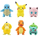 Home Decoration Toy Figures,Pokémon Figure Multi Pack Set with Deluxe Action Gengar - Generation 1 - Includes Pikachu, Squirtle, Bulbasaur, Jigglypuff, Charmander and, Psyduck [6 Pack]