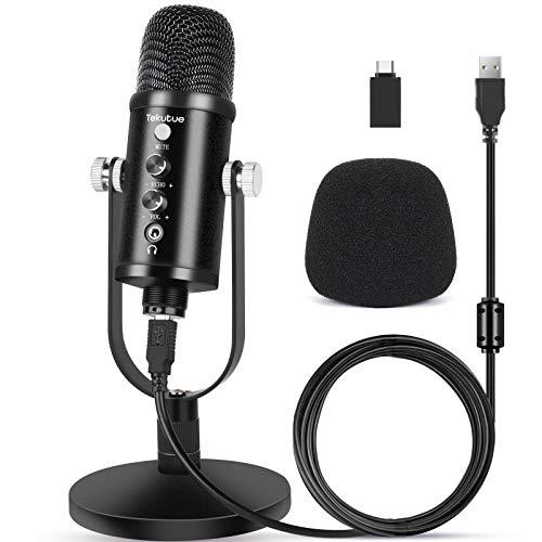 microfono pc gaming professionale Tekutue Professionale Microfono USB Condensatore con Cancellazione del Rumore e Riverbero per PC Smartphone - Microfoni Cardioide per la registrazione