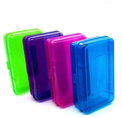 Emraw Assorted Colors Multipurpose School Pencil Box - Glitter Bright Color Box Pencil Case with Snap Close Long Lasting Pencils School case Math Pencil Box Pencil Case Assorted Colors (4-Pack)