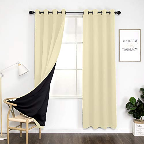 """Thermal 100% Blackout Grommet Curtain for Room,Double-Layer Multi-Function Noise Reducing Performance Drapes with Black Lining, Full Light Blocking Drapery Panels,1 pair,52""""x84"""", Ivory"""