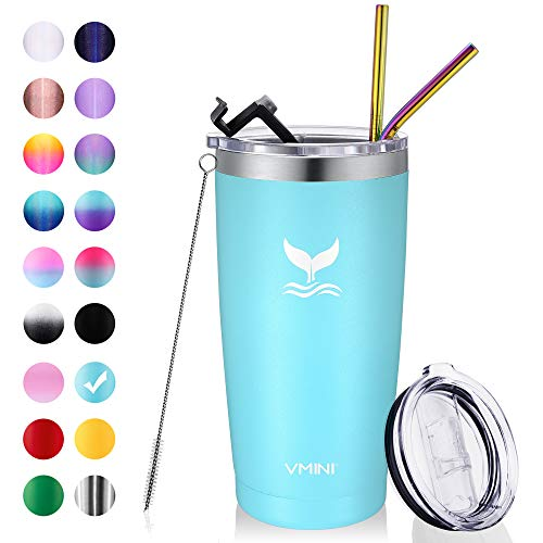 Vmini 20 oz Tumbler with Straws and Lids, Ice Coffee Tumbler, Travel Mug Vacuum Insulated Coffee Beer Pint Cup - 18/8 Stainless Steel Water Bottle : Blue