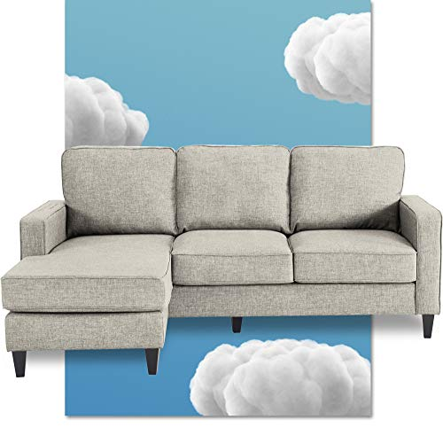 Serta Harmon Square Arm Reversible Sectional Sofa Living Room, Modern L-Shaped 3 Seat Fabric Couch, Light Gray