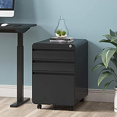 Dprodo 3 Drawers Mobile File Cabinet with Lock, Metal Filing Cabinet for Legal & Letter Size, Fully Assembled Locking File Cabinet for Home & Office