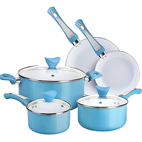 SHINEURI 8 Pieces Nonstick Pots and Pans Set with...