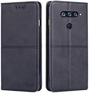 LG V40 財布 シェル, LG V40 シェル, MeetJP プレミアム レザー ジッパー 財布職能 al 保護 リムーバブル カード スロット ポケット ポーチ フリップ 保護 カバー の LG V40 - Black