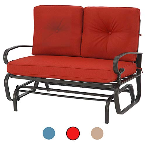 Incbruce Outdoor Swing Glider Rocking Chair Patio Bench for 2 Person, Garden Loveseat Seating Patio Steel Frame Chair Set with Cushion, Red