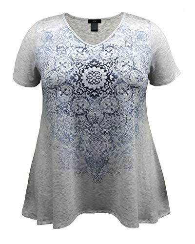 LEEBE Mujer Talla Grande - Camiseta con Dobladillo Estilo High-Low Estampada (1XL-5XL)