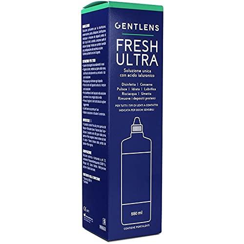 GentLens - Fresh Ultra 550 ml - Soluzione Unica con Acido Ialuronico - Porta Lenti Incluso -