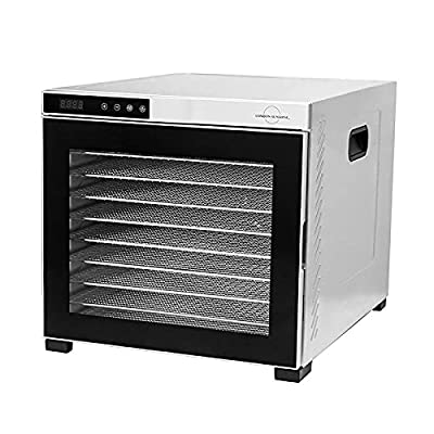 London Sunshine Horizontal Flow Professional Food Dehydrator with 10 Trays Electric Food Dehydrator with Double Wall Stainless Steel Digital Touch Panel Control for Drying Meat Fruits Nuts Vegetables