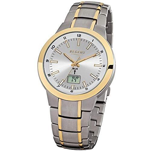 Regent Herren-Armbanduhr Elegant Analog Titan Gold-Armband grau gold Funk-Uhr URFR239
