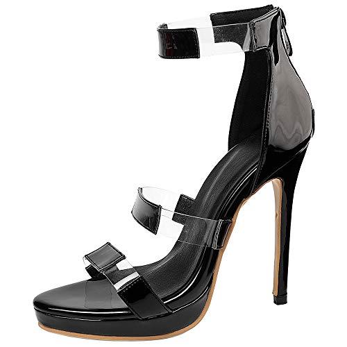 AicciAizzi Donna Moda Sandali Tacco alto sottile Elegante Partito Sandali Con plateau Cintura alla caviglia Black Size 39 Asian
