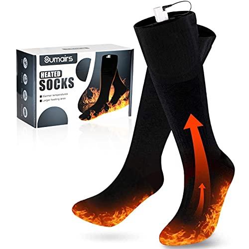 Chaussettes chauffantes chauffe-pieds Chaussettes chaudes rechargeables électriquement 3 réglages de chauffage pour les sports de plein air, pêche, ski, chasse et maintien de la température des pieds